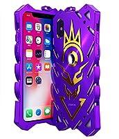 MQman iPhone X ケース 2層構造 iPhoneX 金属合金カバー超頑丈格好いい お洒落 アイフォン X ケースアルミメタルバンパーフレーム (iphoneX, 紫)