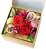 花由 ボックスフラワー 和風hana cube 謹製-金箱入り 寿レッド【プリザーブドフラワー】