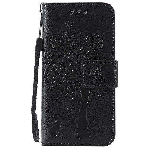 Galaxy S4 Mini ケース CUSKING 手帳型ケース 高品質 PUレザー カードポケット全面保護 フリップ カバー 落下防止 衝撃吸収 財布型 ギャラクシ S4 Mini 対応 - ブラック