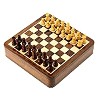 Wooden Magnetic Pieces and Chess Board Sets with Sliding Storage Box 7 x 7 Inches