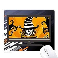 魔法使いの帽子ハロウィンスカルマーカー ノンスリップラバーマウスパッドはコンピュータゲームのオフィス