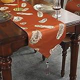 テーブルランナー/テーブルクロス/ファッションサテン/ベッドテールクロス/ウェディング宴会デコレーション/ダイニングテーブルの場所マット/テレビのキャビネットカバー布 g (Color : Orange-, Size : 32×210cm)