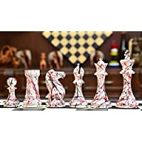 Urban Street Art Staunton Chess Set in Painted Boxwood with Colorful Accents - 4.4