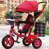 子供の自転車インフレータブルトロリー、男の赤ちゃんベビーカー、自転車、子供の三輪車、(色:赤)