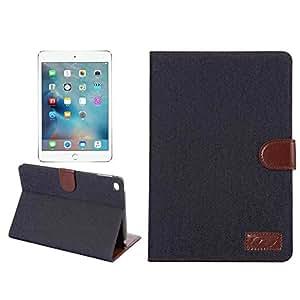 iPad mini4 ケース タブレットケース カバー アイパッド ミニ4 スタンド機能付き レザーカバー カード収納付き ブックカバータイプ 手帳型ケース 横開き デニム調 液晶保護フィルム タッチペン プレゼント (ブラック)