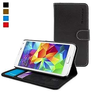 英国Snugg社 Galaxy S5用 PUレザー手帳型ケース 生涯補償付き(Samsung Galaxy S5用, ブラック)