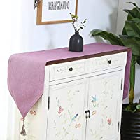 WENLI テーブルランナー ホテルのベッドコーヒーテーブルリネンランナー布ヴィンテージナチュラルリネンテーブルランナーグレー素朴なウェディングパーティーダイニングインテリア・5色 (Color : Purple, Size : 30*140cm)
