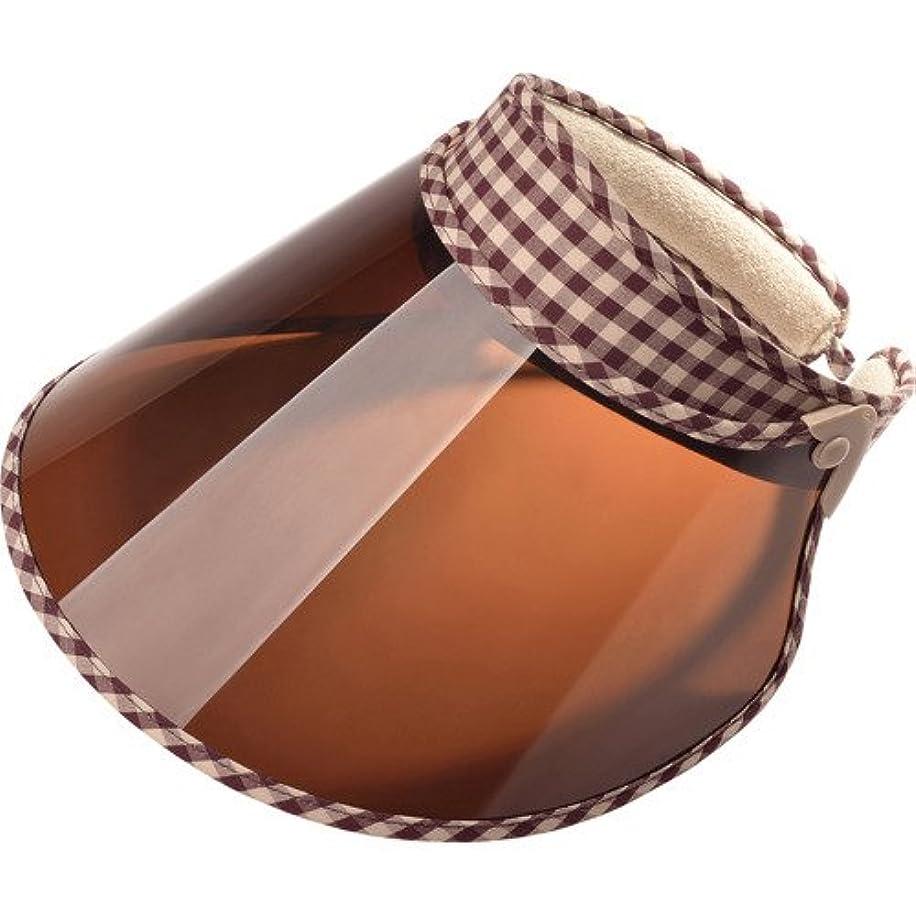 ガウン解釈する褐色メリードア フェイスワイドバイザー amieシリーズ チェック柄 茶色 1個