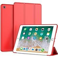 LOITSWAL 新しい iPad 9.7 2018/2017 ケース 超軽量 極薄 レザー 三つ折スタンド オートスリープ機能 TPU ソフト スマートカバー 2017年と2018年発売の 新しい9.7インチ iPad 対応(モデル番号A1822、A1823、A1893、A1954) アップルレッド
