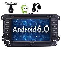 """VWフォルクスワーゲンジェッタゴルフのための7"""" アンドロイド6.0 GPSカーAutoradio 2ディンタッチスクリーンクアッドコアGPSナビゲーションカーDVDプレーヤーCANバスで5 6シュコダパサートキャディT5シート、ブルートゥース、FM AM RDSラジオ無線LANステレオ+カメラ+外部マイクロ"""