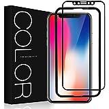 【改良版】iphone X ガラスフィルム G-Color iPhone X 用 強化ガラス液晶保護フィルム 3Dラウンドエッジ加工 透明ケース付き 光沢 iphone X/iphone 10 対応 5.8インチ (黒)