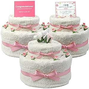 結婚祝い ペア オーガニックコットン バスタオル タオルケーキ ピンク (ご結婚(カード))