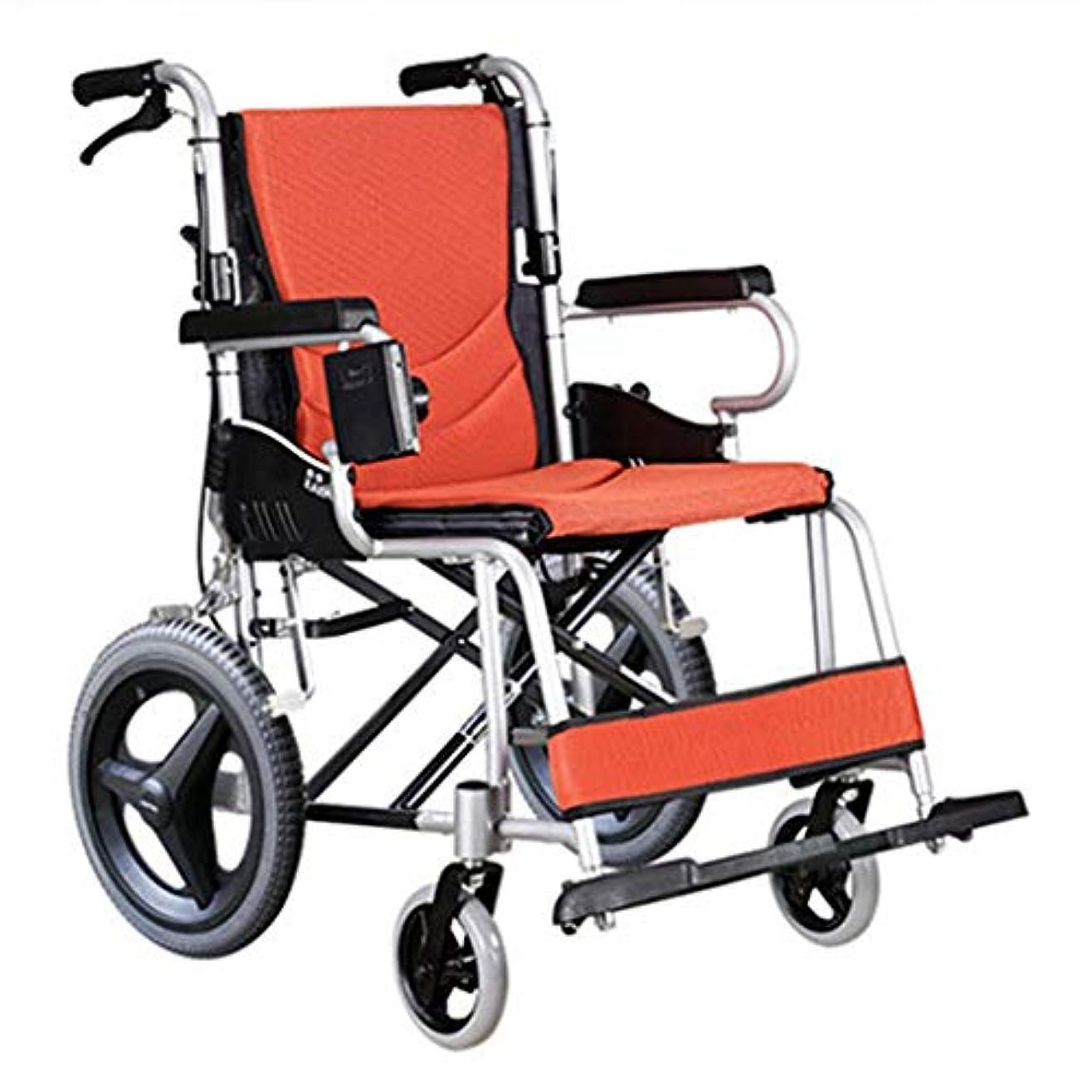 滑りやすい呼び起こす組立折りたたみ車椅子、航空用アルミニウム合金車椅子ソリッドタイヤ、高齢者向けダブルブレーキデザイン野外活動車椅子トロリー