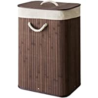 ランドリーバスケット 45L [ブラウン] ランドリーボックス ランドリー収納 コンパクト 持ち運び 洗濯物入れ 洗濯かご 四角 スクエア 脱衣かご [並行輸入品]