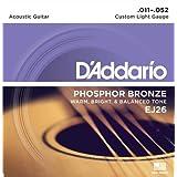 D'Addario ダダリオ アコースティックギター弦 フォスファーブロンズ Custom Light .011-.052 EJ26 【国内正規品】