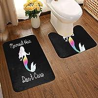 Flowerrrrrrバスルームマット2枚セット(50 * 80cm) Mermaid Hair Don't Care Bathroom Antiskid Pad Black One Size