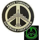 USAF B52 Peace Through Superior Firepower 夜の暗闇で光る PVC ラバー 3D ベルクロ面ファスナー パッチ Patch