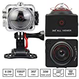 SOYA 4k ビデオカメラ 360度カメラ 防水 アクションカメラ 自転車と空撮対応 3D・VR仮想メガネサポート アプリでVR撮影モード·遠隔操作·日本語対応 M360A(ブラック)
