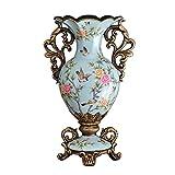 レトロ花瓶 - 創造的な樹脂大きい花の花瓶、部屋の食事のテーブルの寝室のホームデコレーションの工芸品、青