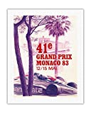 "41st Monaco Grand Prix 1983 – Formula One Race Car – Vintage Car Racingポスターby Pierre Lecomte c.1983 – Fineアートプリント 20"" x 26"" Rolled Canvas APDX9074"