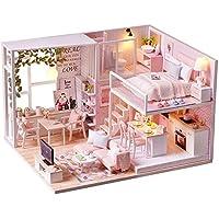 spilay DIYミニチュアドールハウス木製家具キット、ハンドメイドMiniモダンアパートモデルwithダストカバー&音楽ボックス、創造1 : 24スケール人形House Toys for Childrenギフト ピンク l022