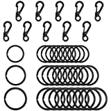SENHAI 30Pcs Metal Flat Key Rings, 3 Sizes, 10Pcs Mini SF Carabiners Spring Snap Clasps for Climbing Camping Survival Backpack Bottle Hooks - Black