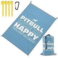 ハッピーピットブル レジャー旅行シートピクニックマット防水145×200センチ折りたたみキャンプマット毛布オーニングテントライトと収納が簡単ポータブル巾着