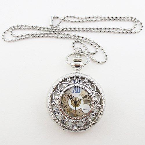 『手巻き式 懐中時計 フックチェーン + ボールチェーン/ 革紐 + 化粧箱 セット (シルバー)』の5枚目の画像