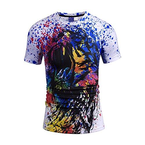 男性 Tシャツ、三番目の店 メンズ 夏 カジュアル 獣の王 ライオン トラ 3Dプリント 半袖 Oネック Tシャツトップス ブラウス