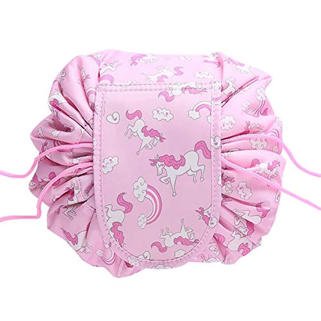 モック出力素晴らしきHersent 道具袋 吸って縄バッグ 化粧ポーチ 化粧バッグ 収納バッグ メイクバッグ 携帯便利 トイレタリーバッグ 怠け者のゴスペル 防水 大容量 (ピンクユニコーン)