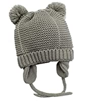 Hisharry Baby Beanie Warm Hat-Infant Boys Hat Cute Bear Knit Toddler Girls Earflap Soft Warm Fall Winter