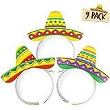 Sombrero パーティーハット - 9個パック ヘッドバンド - Fiesta Party Supplies & Cinco de Mayo メキシカンテーマ パーティーデコレーション 男女兼用