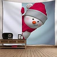 クリスマスの雪だるまタペストリー壁掛け壁画の壁の壁の3Dデジタル印刷ポリエステルアート壁の装飾家の吊り布のベッドルームリビングルームのタペストリー壁のマウントピクニックブランケット (Color : 021)