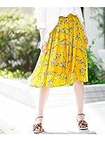 (アーヴェヴェ) a.v.v フラワープリントタックフレアスカート[WEB限定サイズ] K2HFD26059 XL イエロー