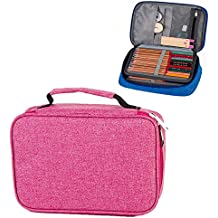 Hard Pen Pouch Bag Box Stationery Pencil Case,Handy Multi-Layer Large Zipper Pen Bag for Prismacolor Colored Pencils, Gel Pen, Color Pen, Watercolor Pens,Cosmetic Brush and More (Pink)