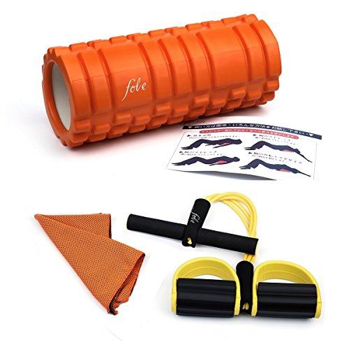 [QIHANG] フォームローラー ヨガポール ストレッチ トレーニング セルフマッサージ 筋膜リリース 運動タオル、トレーニングチューブ付き オレンジ