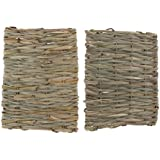 Flameer Handwoven Straw Cage Mat Sleep Bed and Chew Toy for Small Pet Rabbit Hamster