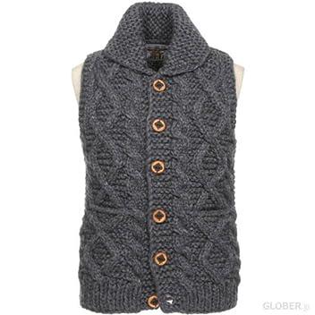 Kanata Cable Button Cowichan Vest 39974: Charcoal