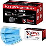 Strapit Surgimask Level 2 Face Mask with Loop, 50 count, Pack of 50
