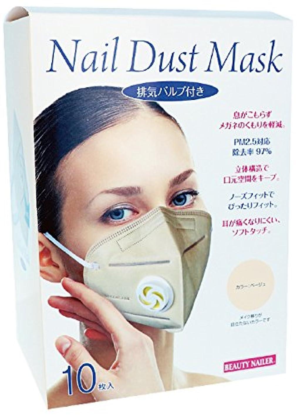 第二にセールスマンまさにビューティーネイラー 排気バルブ付き ネイルダストマスク 10枚入り MASK-04 ベージュ