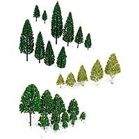 SONONIA 54本 鉄道模型 箱庭用 樹木モデル 3-16 cm 多サイズ 緑 ダークグリーン