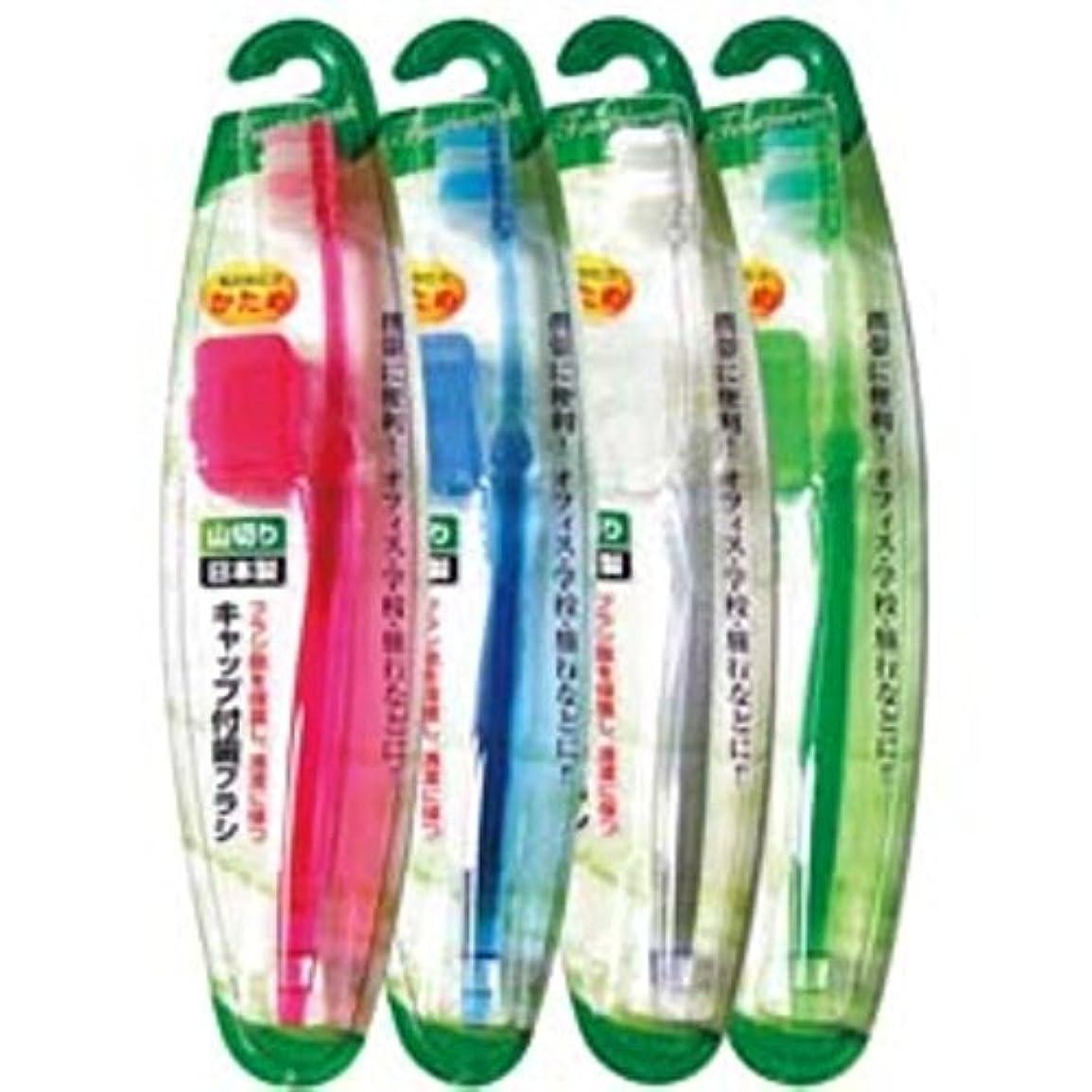灰またはでるキャップ付歯ブラシ山切りカット(かため)日本製 japan 【まとめ買い12個セット】 41-210
