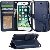 【Arae】 iPhone 7 ケース / iPhone 8 ケース 手帳型「 スタンド機能 カードポッケト ストラップ」人気 おしゃれ 落下防止 衝撃吸収 財布型 おすすめ アイフォン 7 / アイフォン 8 用 ケース カバー( ダークブルー)