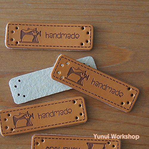 【合成レザー・5枚(裁縫機械)】合成皮革・ハンドメイド・手作り副資材・革タグ・ラベル・合皮・長方形タグ・穴・裁縫・装飾・編物/ニット・DIY・素材・衣服・アクセサリー