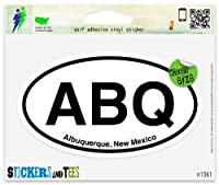"ABQ Albuquerque New Mexico楕円形ビニール車バンパーウィンドウステッカー Small - 3"" x 2"" n1361A"