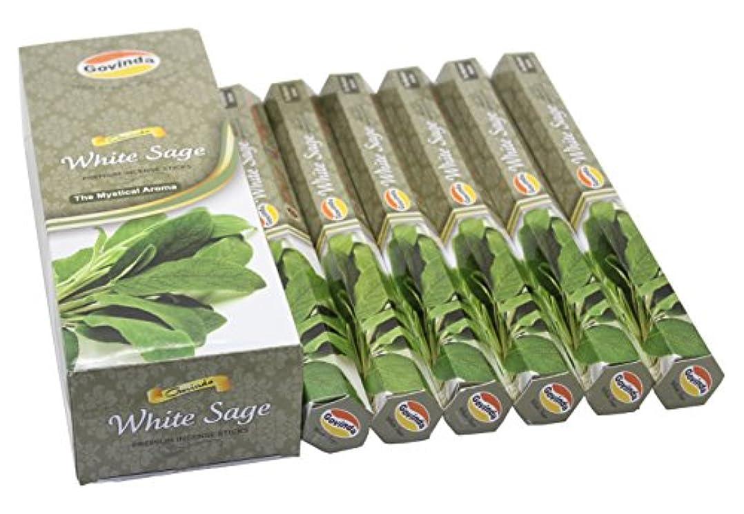 時々内側きしむGovinda Incense - White Sage - 120 Incense Sticks, Premium Incense, Masala Coated
