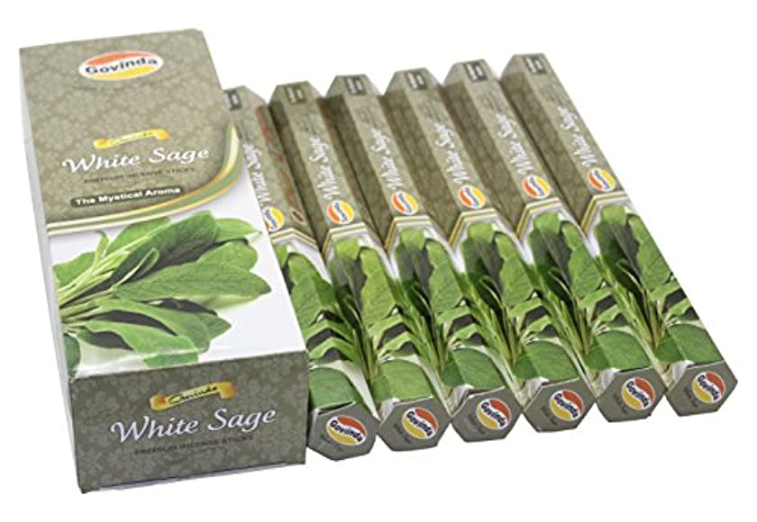 Govinda Incense - White Sage - 120 Incense Sticks, Premium Incense, Masala Coated