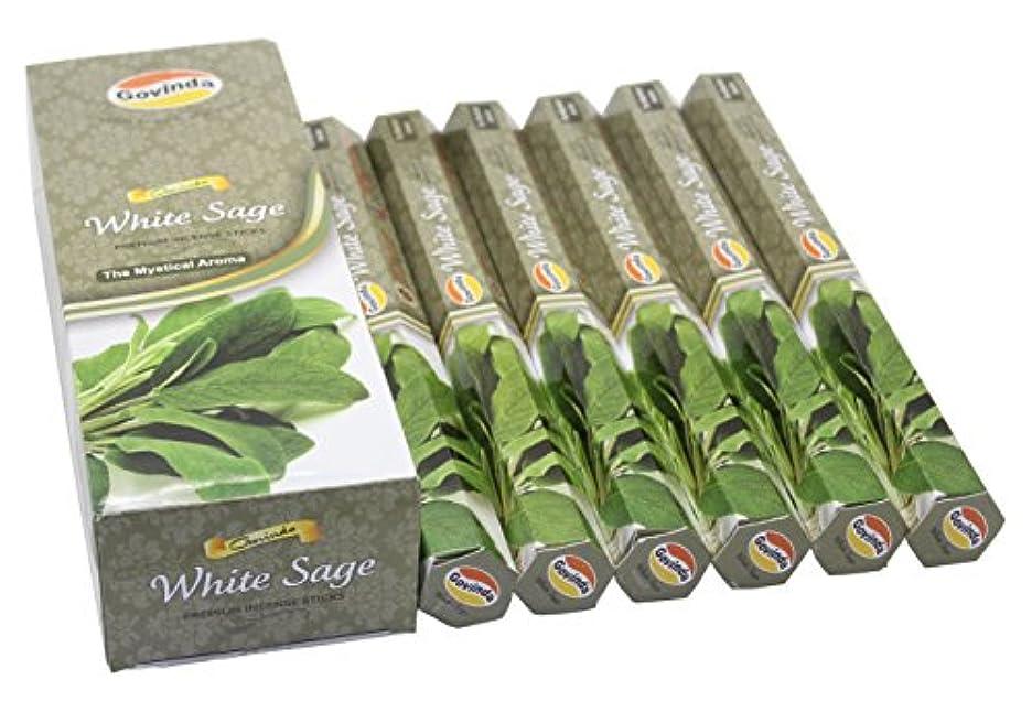 早めるピジン付録Govinda Incense - White Sage - 120 Incense Sticks, Premium Incense, Masala Coated