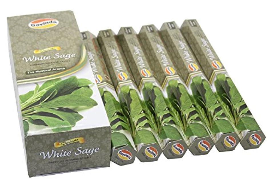 協会グラスシャツGovinda Incense - White Sage - 120 Incense Sticks, Premium Incense, Masala Coated