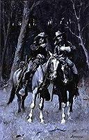 手書き-キャンバスの油絵 - 美術大学の先生直筆 - Cheyenne Scouts Patrolling the Big Timber of the North Canadian Oklahoma Fred 絵画 洋画 複製画 米国西部 ANW1 ウォールアートデコレーション -サイズ08